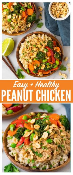 Easy Peanut Chicken Stir Fry with Veggies and Rice. A quick and healthy leftover shredded chicken or rotisserie chicken recipe that comes together in minutes. Not too spicy, you can use any vegetables you have on hand, and the Thai peanut sauce is to die for! #recipe #healthy #peanutchicken  via @wellplated