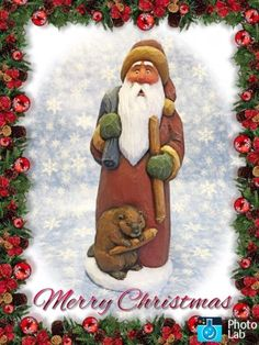 Hand-Carved-Santa-With-Beaver-By-Susan-M-Smith