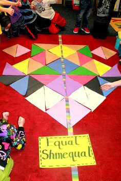 First Grade Wow: Equal Shmequal! Life sized game inspired by the book. Can be done with pattern blocks and yarn Symmetry Activities, Math Activities, Fraction Activities, First Grade Activities, Teaching Time, Teaching Math, Teaching Tools, Math Measurement, Math Fractions