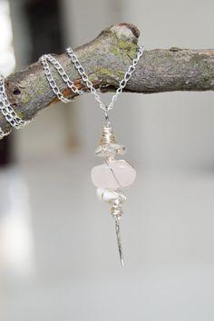 Rose Quartz-- Clear Quartz-- White Jade Crystal Pendant-- Tibetan Silver Angel Wing-- Sterling Silver 925 Necklace