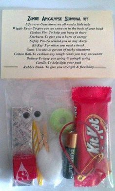 Zombie Apocalypse Survival Kit 11 Items Inside Novelty Gift-- Put in the favor bag Gag Gifts Christmas, Christmas Humor, Christmas Diy, Xmas, Zombie Apocalypse Survival, Birthday Present Diy, Birthday Gifts, Diy Birthday, Funny Birthday