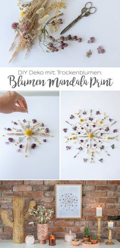DIY – Decoration with dried flowers Flowers Mandala Print ! Mandala Rug, Mandala Print, Flower Mandala, Diy And Crafts, Arts And Crafts, Nature Crafts, Color Card, Flower Crafts, Accessories