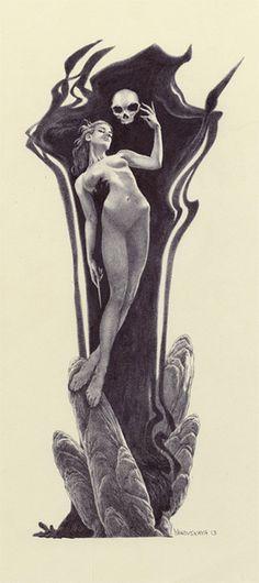 By Rebecca Yanovskaya.  Death and the Maiden. Death grim reaper Father Time scythe maiden girl woman dance danse macabre skull skeleton