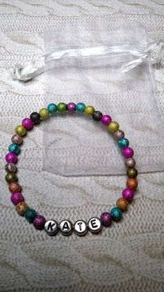 PERSONALIZED * PUT ANY NAME BRACELET /multicolored beads fast delivery CHRISTMAS