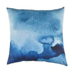 Ombre Home Blue Water Watercolour Cushion Blue & White 40 x 40 cm