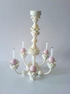 Como hacer una lámpara de araña   -   How to: chandelier (not a full tutorial, but photos give a good idea of how lamp was made)