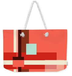 Geometric Abstract with Living Coral Square Weekender Tote Bag x by Jenny Rainbow. The tote bag includes cotton rope handle for easy carrying on your shoulder. All totes are available for worldwide shipping and include a money-back guarantee. Live Coral, Weekender Tote, Cotton Rope, Days Out, Staycation, Weekend Getaways, Bag Sale, Tote Bags, Totes