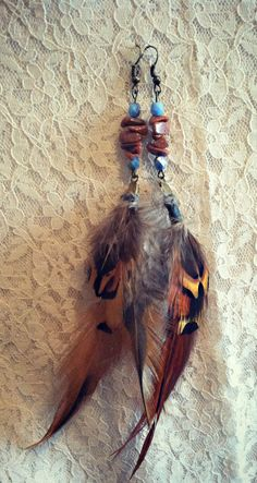 Beaded feather hippie earrings $16