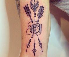 Tattoo. Idea. Arrows. Initials.