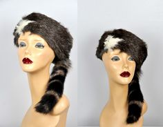 Fur Hat with Tail -  Racoon Tail Hat - Racoon Tail Fur Hat - Real Fur Hat - Winter Hat - Unisex Men Women Fur Hat Russian Fur Hat Winter Hat by ItaLaVintage on Etsy