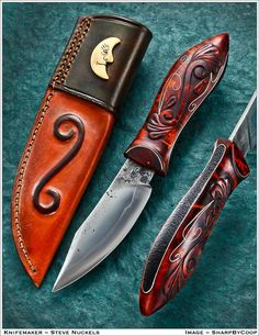 Lightweight Utility/Hunter by Steve Nuckles.  Blade is from an antique sawmill blade, edge quenched and vinegar etched. Stained curly maple with silverwire and stippleing and his first go at relief carving. The sheath is basswood lined with raised pattern design and polished/scrimmed whitetail antler half moon.