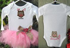 Valentines Owl Embroidered Monogram Onsie Outfit by stinkychic, $25.00