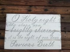 O holy night the stars are brightly shining, Christmas, Pallet Sign, Wooden Signs, Christmas Sign, Shabby Chic, Pallet Art, Door hanger on Etsy, $75.00