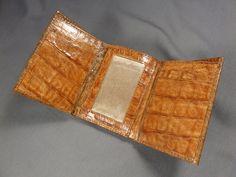 New Handmade Genuine Cognac Alligator-Crocodile  Premium Skin Trifold  Wallet 8