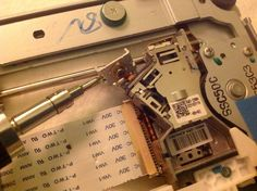 salvaging a laser diode from a cd-rom. Wonder what I could do with that #arduino  ~~~ For more cool Arduino stuff check out http://arduinoprojecthacks.com