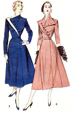 1950s Dress Pattern.  I want the collar of this dress on a coat
