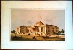 19th Century E Sachse & Co Baltimore Lithograph Washington City Hall  #Realism
