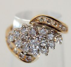 14k Solid Yellow Gold 1 25 tcw Diamond Cluster Cocktail Ring   eBay