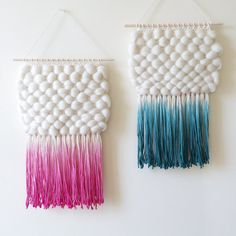 Dip-Dyed Turquoise Weaving Hand Woven Wall Hanging by UnrulyEdges