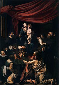 caravaggio rozenkrans madonna, in bezit Louis Finson