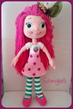 Cute Crochet, Crochet Dolls, Crochet Hats, Crochet Animals, Knitting, Ideas Para, Crocheting, Roses, Strawberry Shortcake Doll