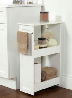 maximizing the limited space in the bathroom, by putting this between the sink and the bathroom closet..extra storage.