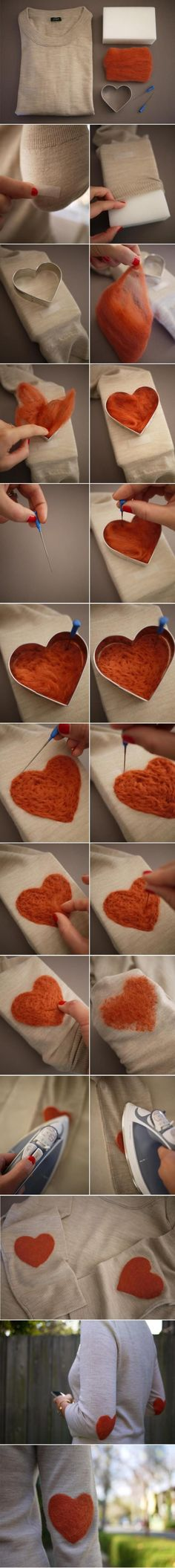 Needle-felted elbow patches. Brilliant! #DIY