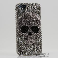 3D Swarovski Crystal Bling Case Cover for iphone 5 5G AT&T Verizo & Sprint Skull Design (Handcrafted by BlingAngels)