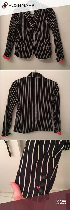 Navy and white pinstripe blazer Hot pink lining on sleeves GAP Jackets & Coats Blazers