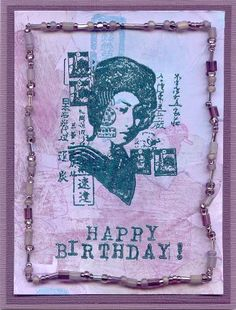Asian Postal Collage Birthday Card (Heather Taylor) Unmounted Rubber Stamp