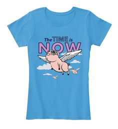 The Time Is Now   Women Tshirt Heathered Bright Turquoise   T-Shirt Front