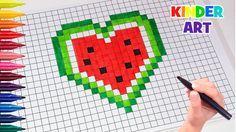 Рисунки по клеточкамСердце-арбуз | How to draw a watermelon heart Pixel...