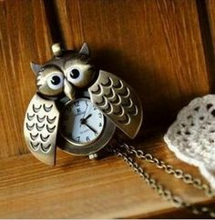 $6.99 Antique Bronze Owl Pocket Watch Pendant Necklace,Alloy Necklace,Cheap Jewelry,Girly,New Necklace,Gofavor.com.