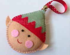 Christmas DIY: felt Christmas elf i felt Christmas elf idea sewing material holiday ornament