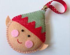 Ernie the Christmas Elf Felt Hanging Decoration/Ornament x1