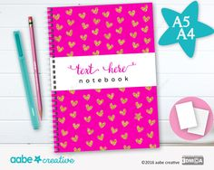 Personalised Notebook (Glitzy Hearts), handmade stationery - lots of designs to choose by aabecreative on Etsy