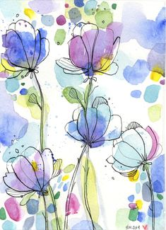 Abstract Floral Watercolor Painting - Pea Template - Abstract Art - Wildflower Painting - Abstract Floral Watercolor Painting Pea Template Abstract Art Wildflower Painting A - Watercolor And Ink, Abstract Watercolor Tutorial, Simple Watercolor Flowers, Easy Flower Painting, Watercolor Flowers Tutorial, Pen And Watercolor, Art Flowers, Flower Tutorial, Purple Flowers