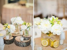 Wood stumps as center pieces. Cucumbers instead of lemons if we go green.