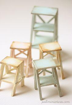 Dollhouse Miniatures, Miniature Food Jewelry, Craft Classes: Dollhouse Miniature Ladders