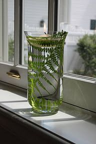 green wedding fern in a vase with floating candle, super affordable with dollar tree vases and fern!