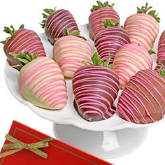 Elegant Pink Drizzle Belgian Chocolate Strawberries  6 piece *** Visit the image link more details.
