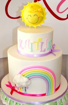 Beautiful cake at a Pastel Rainbow 3rd birthday party via Kara's Party Ideas KarasPartyIdeas.com Supplies, cake, cupcakes, recipes, printables, and more! #rainbowparty #pastel #cake