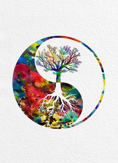 Yang Tree Watercolor Print, tree of life Yin Yang Tree Watercolor Print, tree of life - MimiPrints - All The Prints You Want !Yin Yang Tree Watercolor Print, tree of life - MimiPrints - All The Prints You Want ! Arte Yin Yang, Ying Y Yang, Yin Yang Art, Yin And Yang, Yin Yang Tattoos, Watercolor Trees, Watercolor Print, Watercolor Tree Tattoos, Watercolor Mandala