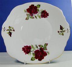 Vintage Shabby Floral Chic Duchess Bone China Cake Plate Dark Red Roses | eBay