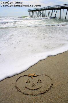 Perfect Sand Pumpkin. Pumpkin Drawn in Sand on the Beach by Beachwrite: http://www.beachwrite.com/