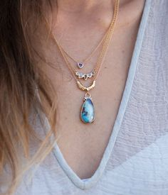 Shop this serene opal, sapphire, gold, and diamond combination!! #loveaudryrose