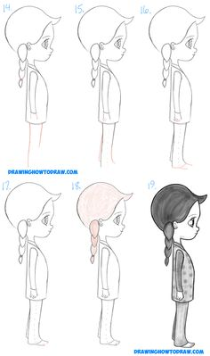 Learn How to Draw a Cute Chibi / Manga / Anime Girl from the Side Profile View Simple Steps Drawing Lesson for Beginners