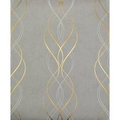 York Wallcoverings Designed with slender streamers of color and shimmering metal, this Aurora L x W Metallic/Foiled Wallpaper Roll features curl-like lines winding their way from ceiling to floor in a vertical dance. Grey And Gold Wallpaper, Metallic Wallpaper, Geometric Wallpaper, Wallpaper Roll, Peel And Stick Wallpaper, Wall Wallpaper, Wallpaper Ideas, Bedroom Wallpaper, Grey Wallpaper For Bathroom