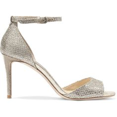Jimmy Choo Tori 85 embellished glittered leather sandals (3.080 BRL) ❤ liked on Polyvore featuring shoes, sandals, heels, gold, glitter sandals, high heels sandals, strappy high heel sandals, embellished sandals and peep toe sandals