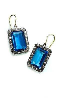 Laurie Kaiser emerald cut blue topaz earrings with diamonds in blackened silver and yellow gold. www.lauriekaiser.com